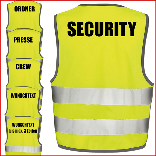 Warnweste GELB Sicherheitsweste  ORDNER    Weste für Sicherheitsdienst
